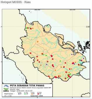 Pelalawan Hanya 400 Meter, Hotspot Terpantau ada 141 Titik di Riau