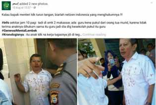 Guru Dipukul Orang Tua Murid hingga Babak Belur di Makassar