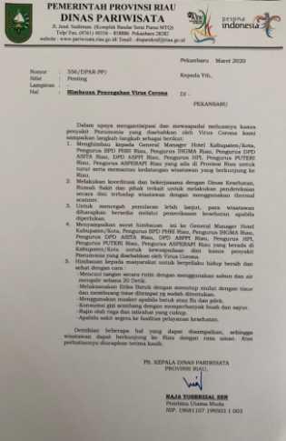 Cegah Penyebaran Virus Corona, Dispar Imbau Pengusaha Hotel dan Travel di Riau Pantau Kesehatan Wisa
