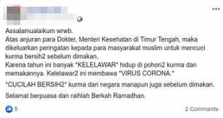 Hoax Kurma Impor Mengandung Virus Corona dari Kelelawar